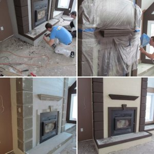 Custom Stucco Fireplace
